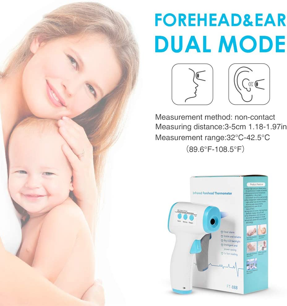 Temperature Infrared Forehead Thermometer Non-Contact Forehead Thermometer for Baby Kids Adults Digital Medical Forehead Ear Thermometer