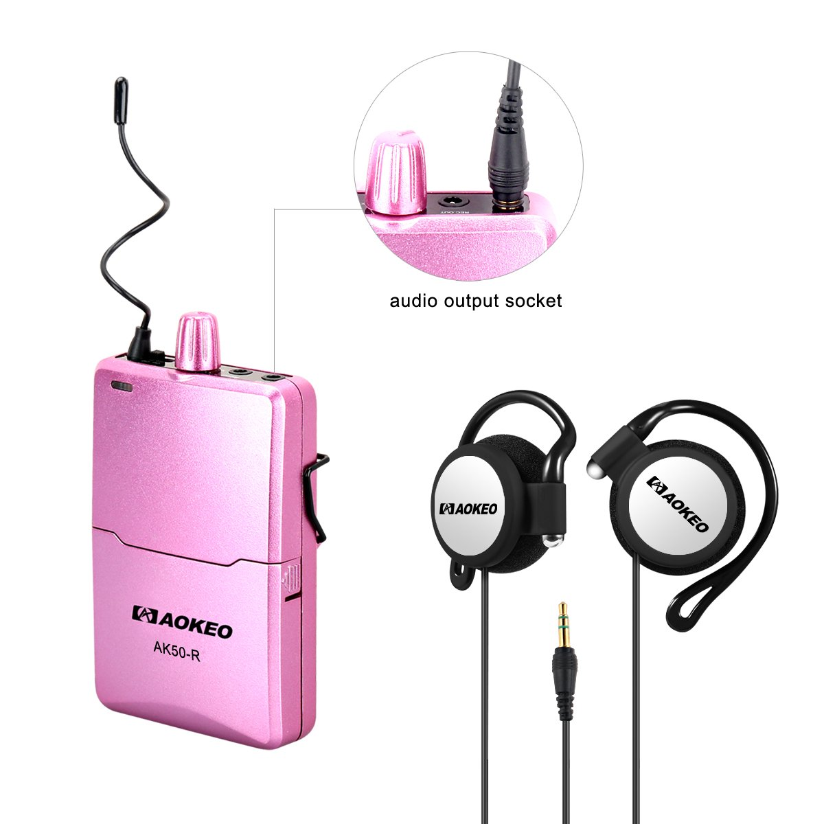 Aokeo AK-50 Professional UHF Wireless Tour Guide System Set or Separately - Tour Guiding, Teaching, Travel, Field Interpretation, Etc. (Pink Receiver Over Ear)