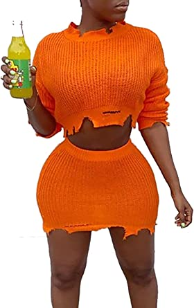 Women/'s Knitted Suit Solid Long Sleeve Sweater and Skirt Two Piece Set Outfits N