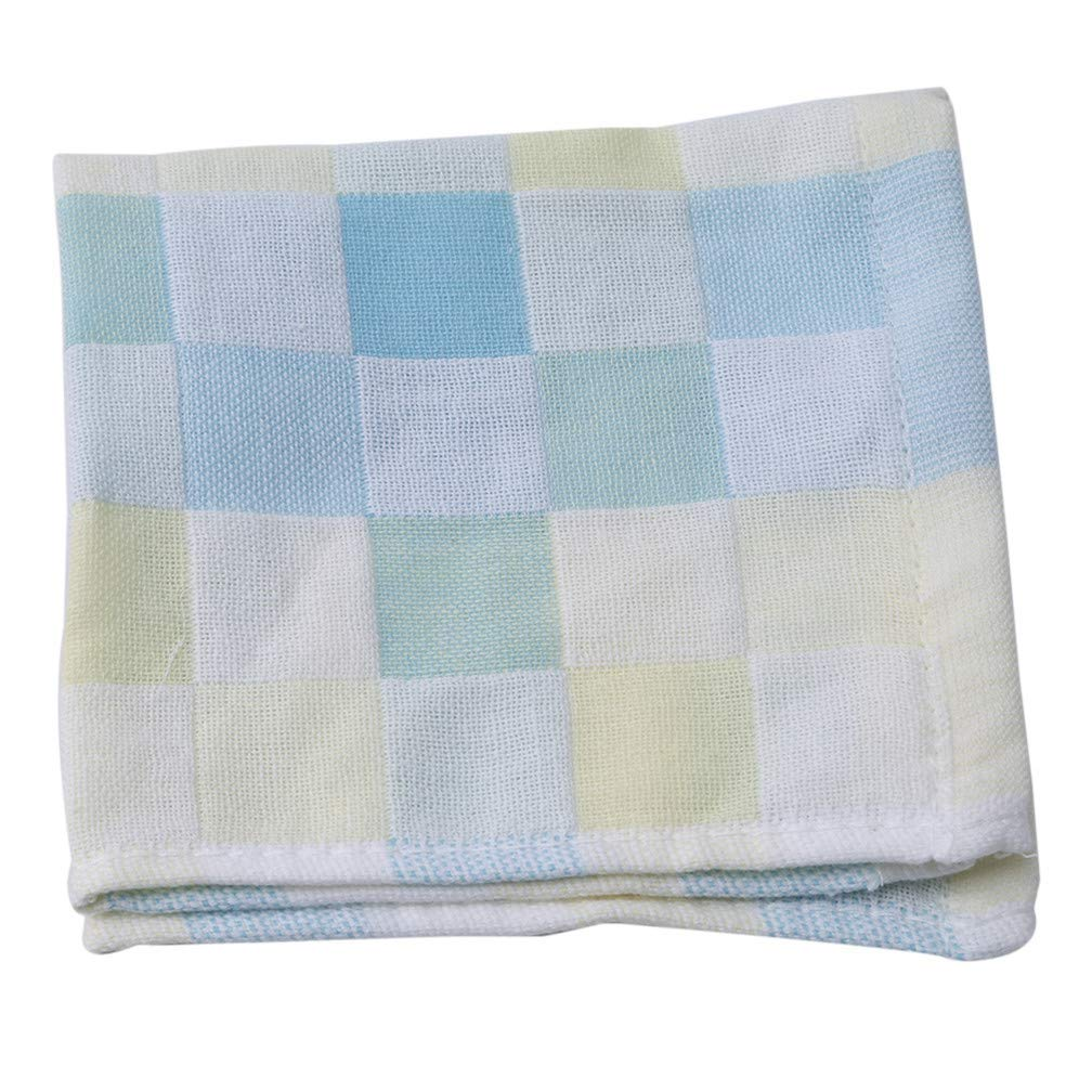 Tcplyn  Square Plaid Cotton Gauze Face Bath Towel Bibs Hand Towels for Children,Green