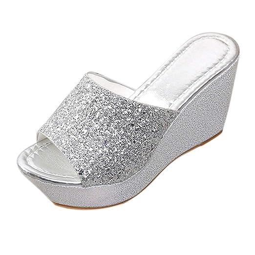 2bb6a71ac2104 Amazon.com: Hunzed Women【Wedge Shiny Sandals】 Sexy Bling Shoes ...