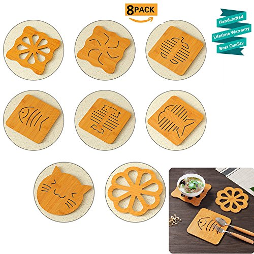 Wood Cup Coaster Placemat Coffee Tea Cup Coasters Holder Home Table Mat Tableware Pack of 8 - Handmade Orange Agate