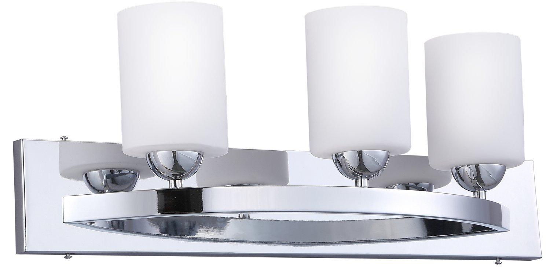 CloudyBay CB17001-CH Bath Vanity Light Fixture,3-Bulb Wall Sconce with Opal Glass Shade,UL Listed,Chrome Finish
