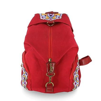 GMS467 Vintage mujeres niñas tribales étnicas mochila mochila Retro mochila bordada, mochila bolsa de viaje