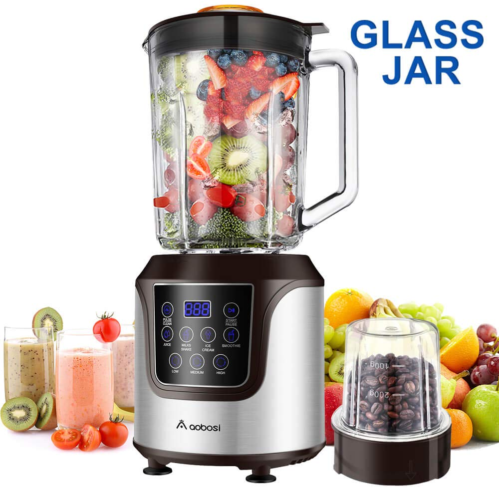 Blender,AAOBOSI Smoothie blender, Professional Blender with 52 Oz Glass Jar for Shakes and Smoothies, 3 Speeds, Stainless Steel