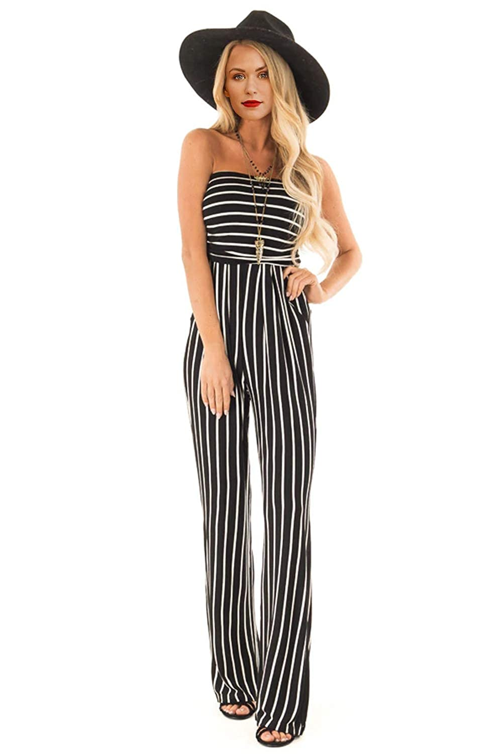 Wxnow Womens Tube Top Sleeveless Striped Wide Legs Casual Pants High Waist Jumpsuit