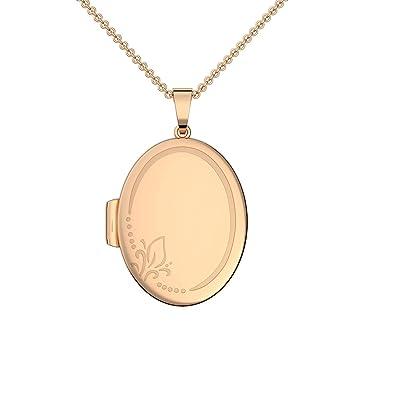 ovales Medaillon Amulett für 2 Fotos Bilder Anhänger mit Kette Echt Silber 925