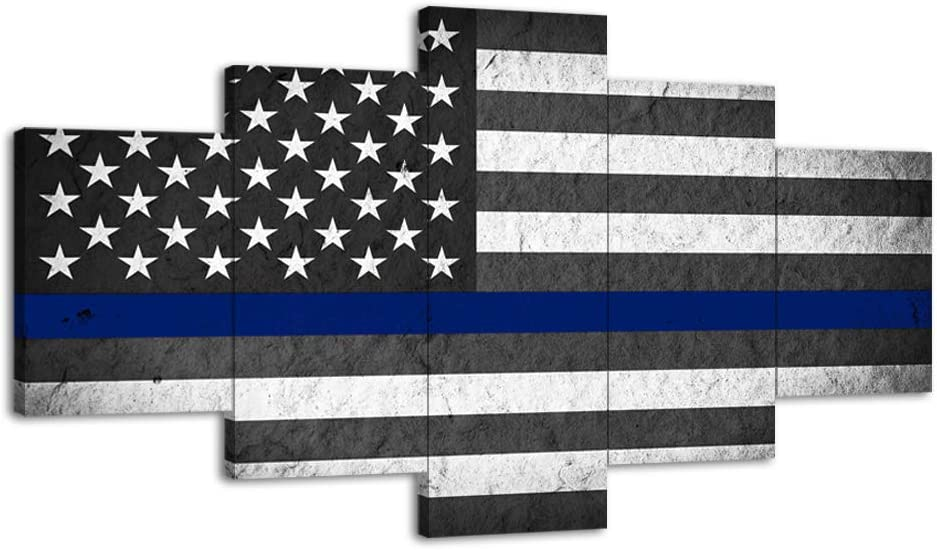 """US USA American Flag Military Canvas Print Wall Art Thin Blue Line Home Decor Decals Pictures Poster for Living Room Bedroom Dining Room Office 5 Panel Paintings Framed Ready to Hang (60""""Wx32""""H, f)"""