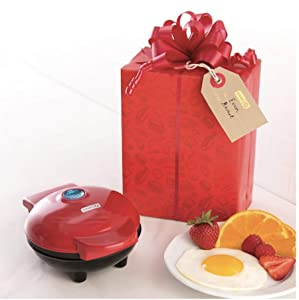 Red Dash Brand Mini Maker Griddle with Gift Box, Box and Gift Tag Inside! Great instant gift! Huge Timesaver!
