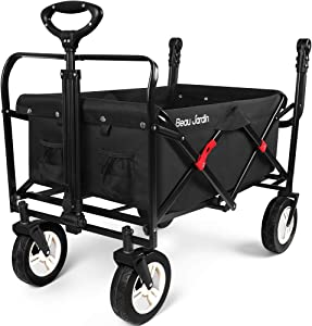 BEAU JARDIN Folding Push Wagon Cart Collapsible Utility Camping Grocery Canvas Fabric Sturdy Portable Rolling Lightweight Buggies Outdoor Garden Sport Heavy Duty Shopping Cart Wagons With Wheels Black