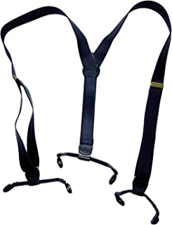 """product image for Holdup Brand 1"""" narrow Deep Satin Blue Double-ups Style Y-back Suspenders with patented dual no-slip clips"""