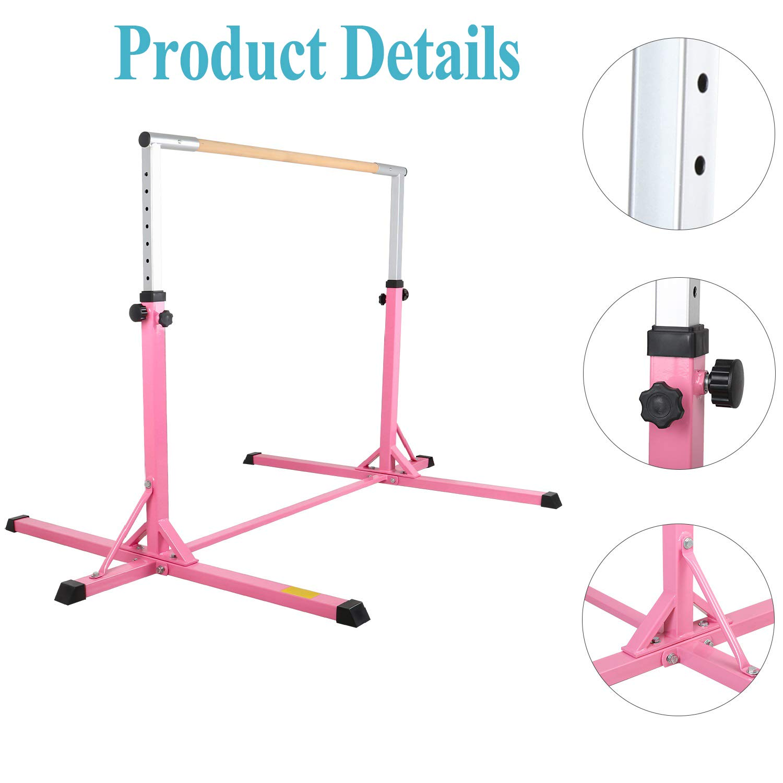 220 lbs Weight Capacity Home Training Bar for Kids Gymnastics Bars YEEGO Horizontal Adjustable Height Premium Gymnastic Equipment 1-4 Levels