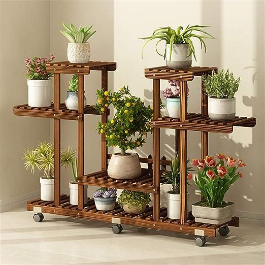 Planta de teatro Soporte de flores de madera con rueda desmontable ...