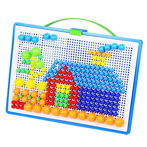 - E-House Puzzle for Kids Cardboard Cube Party Toy DIY Toys 296Pcs DIY Mosaic Picture Puzzle Pegboard Mushroom Nails Educational Kids Toy