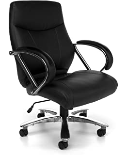 OFM Avenger Series Big And Tall Leather Executive Chair   Black Mid Back Computer  Chair With