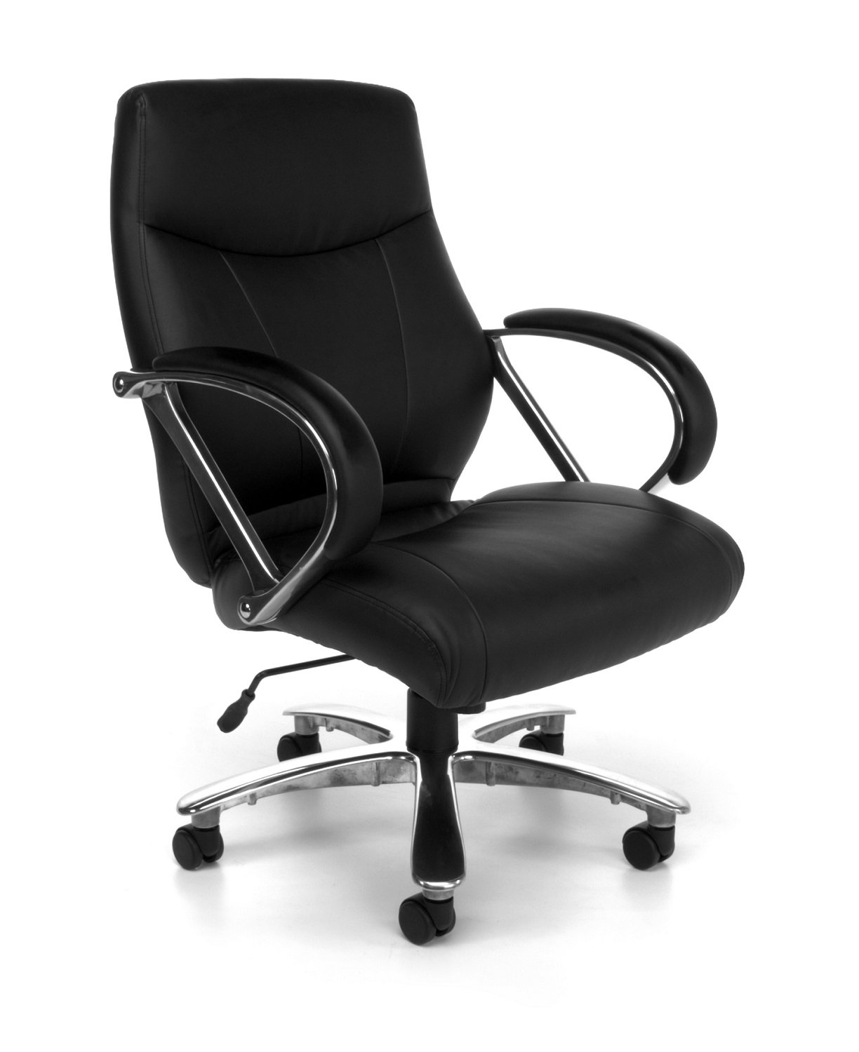 OFM Avenger Series Big and Tall Leather Executive Chair - Black Mid Back Computer Chair with Arms, Black (811-LX-BLK) by OFM