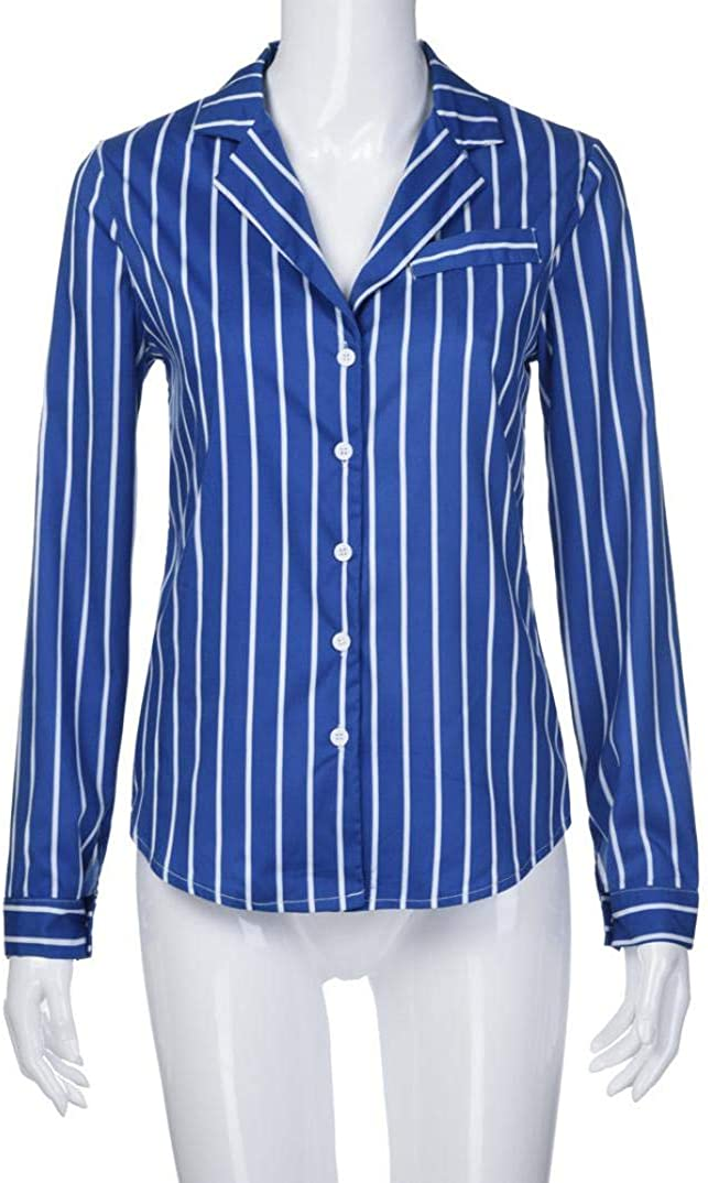 Overdose Blusa para Mujer Oto/ñO Primavera Nueva Mejor Venta De Moda Casual De Manga Larga Color Block Stripe Button Camisetas Tops