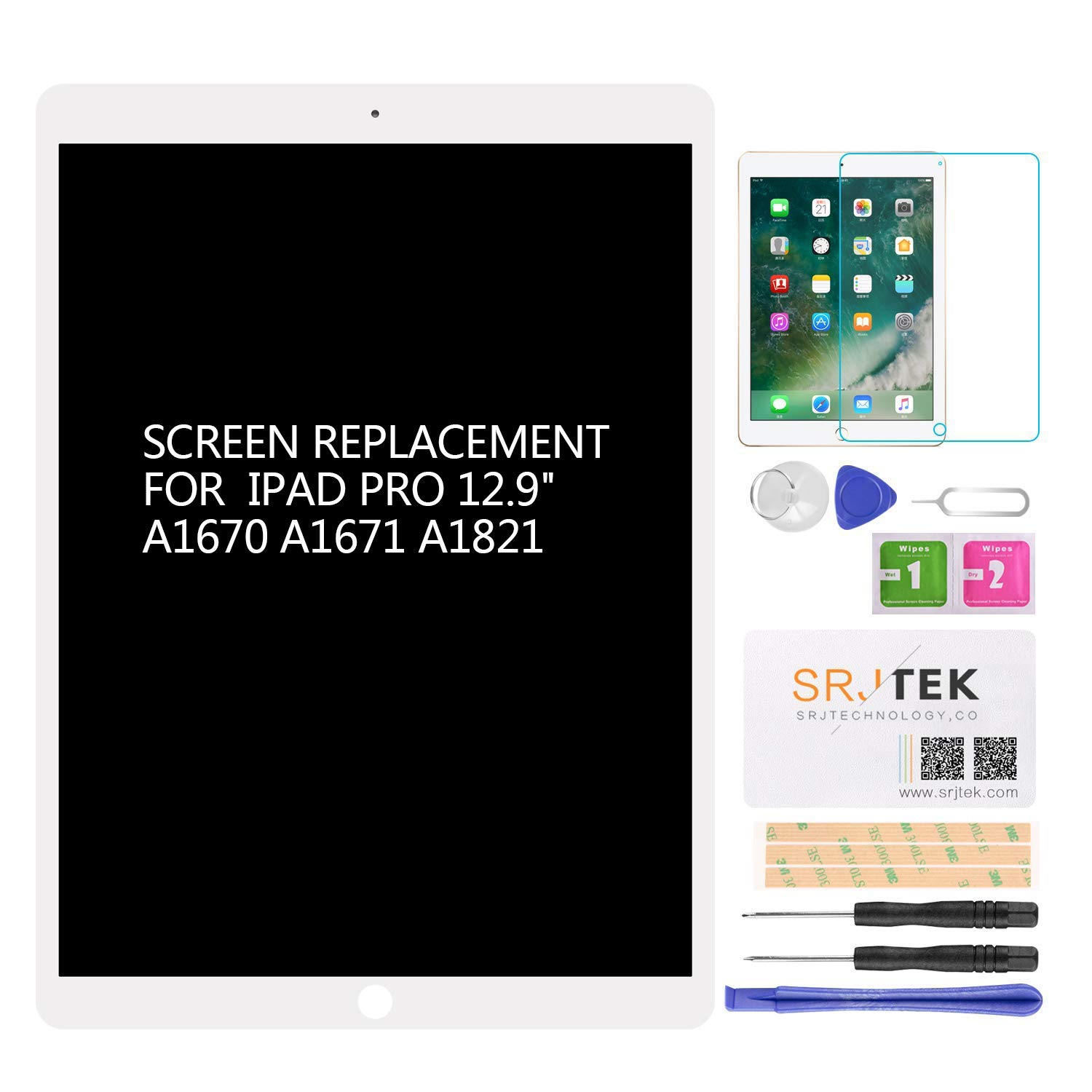for iPad Pro 12.9 A1670 A1671 A1821 Screen Replacement LCD Display Touch Screen Digitizer + IC Connector PCB Flex Cable Assembly (2017) (White) by SRJTEK (Image #1)