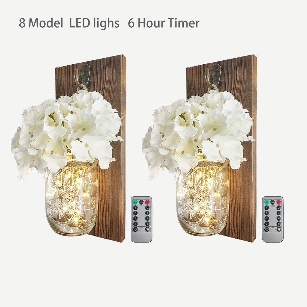 2 Pack Mason Jar Sconce Wall Decor With 8 Functions Remote, Hanging Decorative Jars with 6-Hour Timer 30 Led Fairy Lights, Rustic Wall Sconce With Dark Wood , White Silk Hydrangea for Home Farmhouse by kolymax