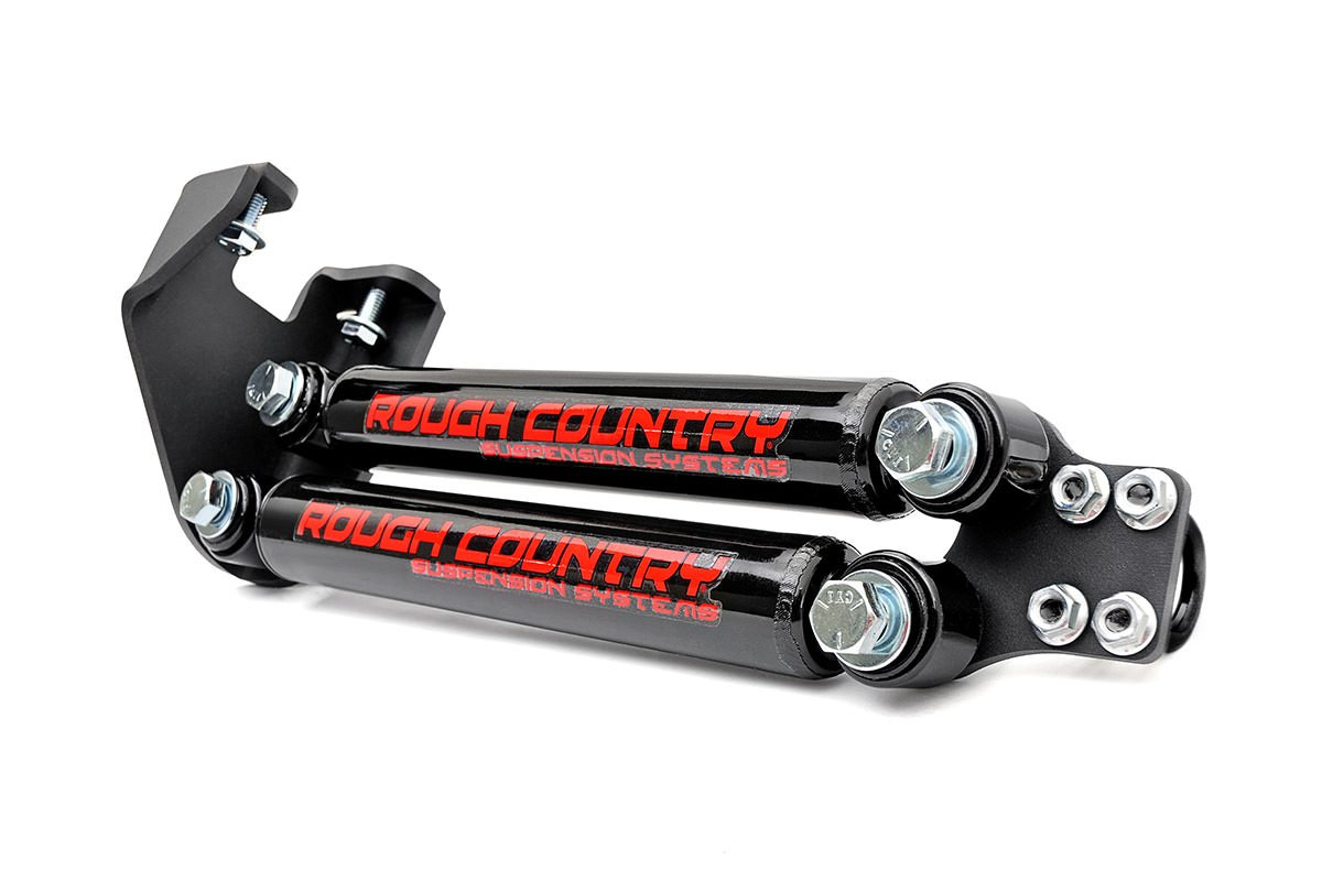 Rough Country 87307 Rough Country-87307-Stacked Dual Steering Stabilizer for 4-6-inch Lifts w/Black Hydraulic Shocks for Jeep: 87-95 Wrangler YJ 4WD