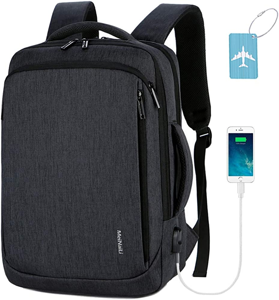 Business Travel Backpack,Laptop Backpack with USB Charging Port Water Resistant College School Computer Bag