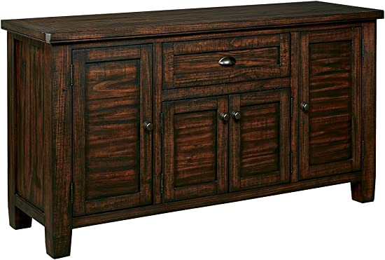 Ashley Furniture Signature Design – Trudell Dining Room Server – Solid Pine Wood Construction – Dark Brown
