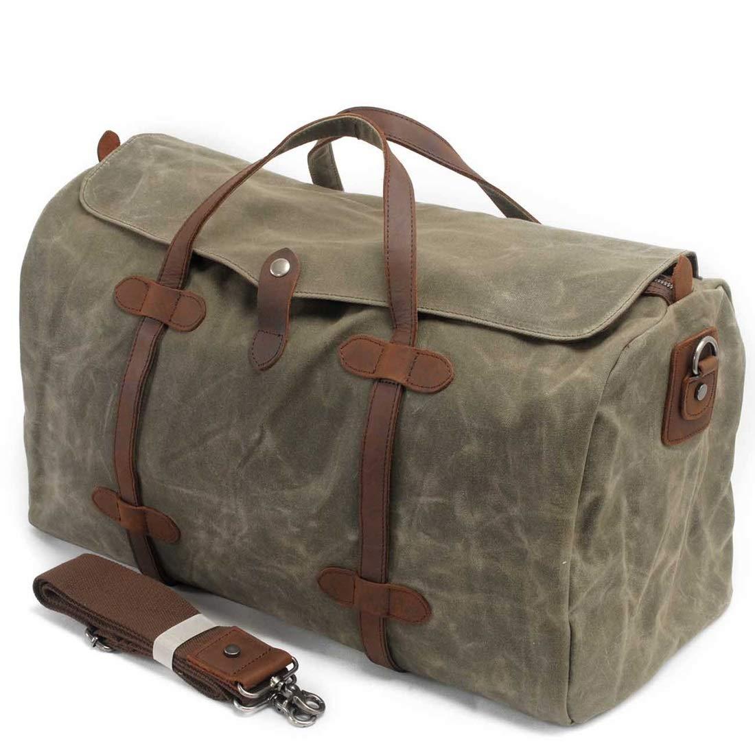 Color : ArmyGreen Carriemeow Canvas Travel Bag Female Handbag Casual Short-Distance High Capacity Crossbody Bag Waterproof Luggage