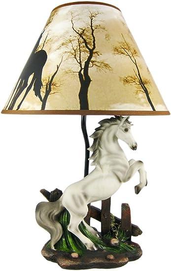 Ebros White Rearing Wild Horse Stallion Desktop Table Lamp With Nature Shade