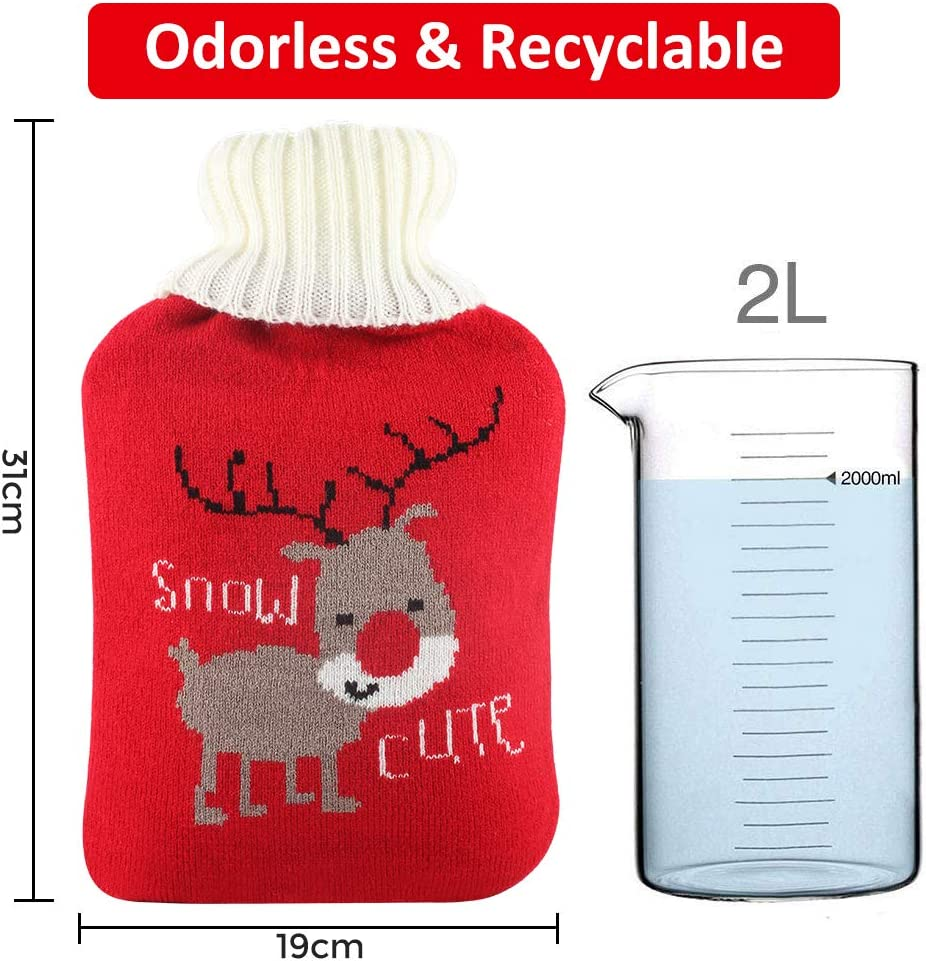 Cute Knit Cover 2L HOT Water Bottles with Soft Knitted Removable Cover,Thicker Higher Quality Rubber Bottle Santa Deer /& Panda