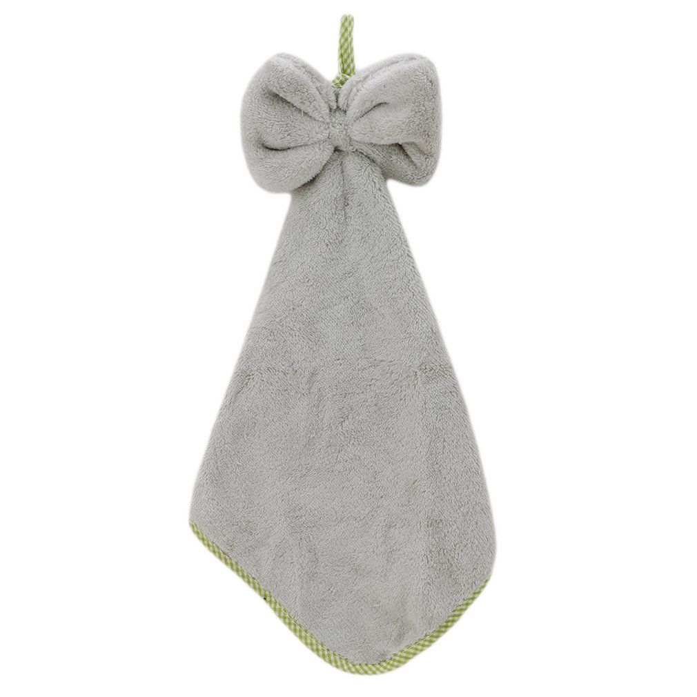 Iumer Coral Velvet Hand Towel Bowknot Fast Dry Hanging Towel for Kitchen Bathroom,Gray,as description