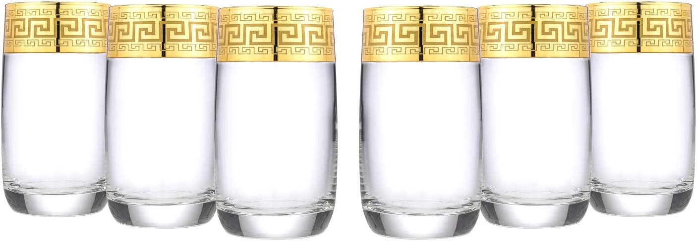 Gold Rimmed Highball Tumbler 6-piece Glass Set Greek Key Pattern - No Lead Contemporary Drinkware