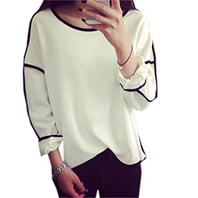 COCO clothing Chemisier Femmes Col Rond Casual Tops Dames Manches Longues  T-Shirt Automne Elegante 07ff069a65a