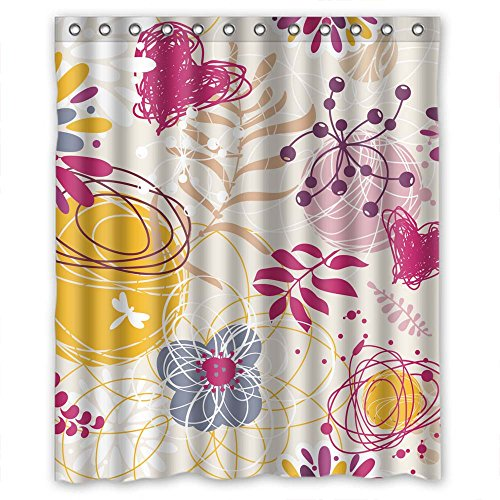 NASAZONE Polyester Flower Christmas Shower Curtains Width X Height / 60 X 72 Inches / W H 150 By 180 Cm Best Choice For Bf Hotel Kids Girl Valentine Lover. ()