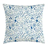 Ambesonne Children Throw Pillow Cushion Cover, Science Chemistry Geometry Math Nerd Geek and Genius Themed Design Artwork, Decorative Square Accent Pillow Case, 16 X 16 Inches, Blue and Ivory