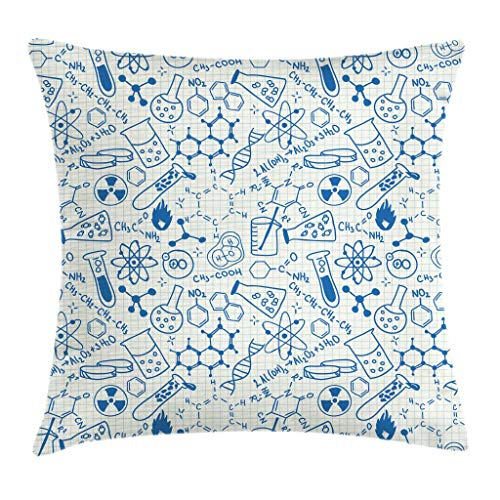 Ambesonne Children Throw Pillow Cushion Cover, Science Chemistry Geometry Math Nerd Geek and Genius Themed Design Artwork, Decorative Square Accent Pillow Case, 16 X 16 Inches, Blue and Ivory by Ambesonne