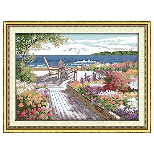Zytree(TM) DIY 3D 11CT/14CT Seaside Landscapes Pattern Stitching Precise Printed Counted Cross Stitch Set Embroidery Kits Home Decoration