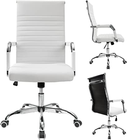 Amazon Com Furmax Ribbed Office Desk Chair Mid Back Pu Leather Executive Conference Task Chair Adjustable Swivel Chair With Arms White Home Kitchen