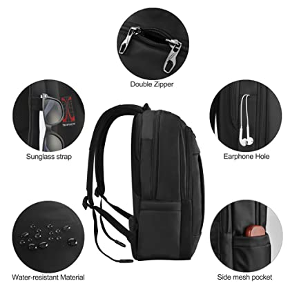 2c6dfe8a68aa kopack Deluxe Black Waterproof Laptop Backpack 15.6 17 Inch Travel Gear Bag  Business Trip Computer Daypack ...