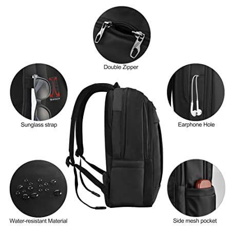 kopack Deluxe Black Waterproof Laptop backpack 15.6 17 Inch Travel Gear Bag business trip computer daypack double laptop compartment