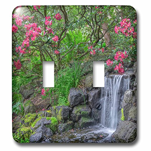 3dRose Danita Delimont - Waterfalls - Oregon, Portland, Red blossoms of rhododendrons alongside a waterfall. - Light Switch Covers - double toggle switch (lsp_279357_2) (Blossom Portland)
