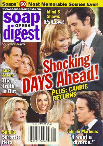 Farah Fath, Jason Cook, Deidre Hall, Drake Hogestyn, Days of Our Lives, Thom Christopher, 50 Stand-Out Soap Moments - October 11, 2005 Soap Opera Digest Magazine