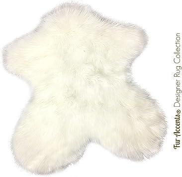 Shag Sheepskin Rug White Mongolian Carpet Pelt Throw Area Rug Faux Fur Accents