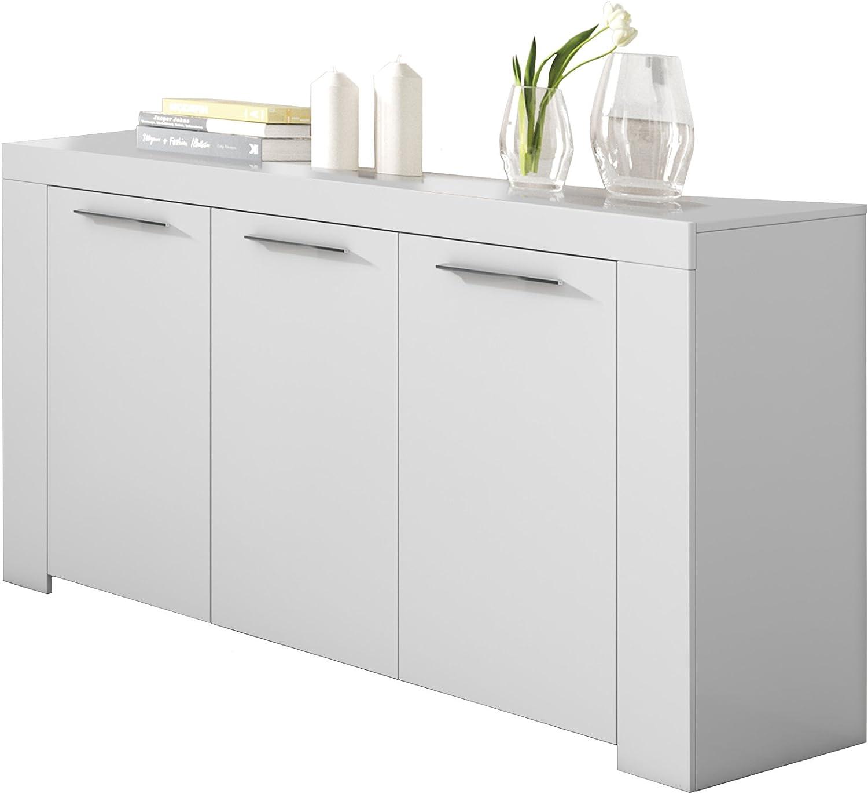 Habitdesign 006620A - Aparador Buffet Moderno, Armario Auxiliar Comedor, Color Blanco Artik, Medidas: 144 cm (Ancho) x 80 cm (Alto) x 42 cm (Fondo)