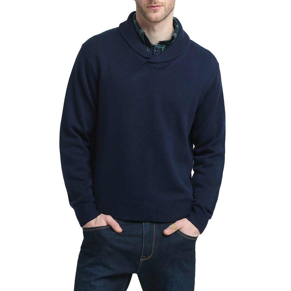 Kallspin Mens Relaxed Fit Shawl Collar V Neck Sweater Merino Wool Blend Thick and Solid (Navy Blue, L)