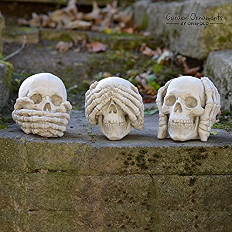 Three Truths Of Man Skelet Skull Hear See Speak No Evil Statue Display Decor