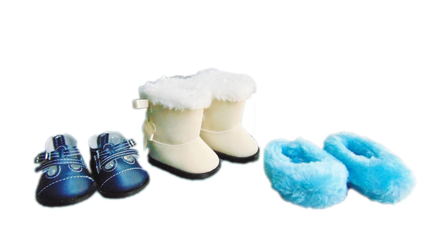 963958fea39 Amazon.com  Brittany s My Value Pack Shoes Compatible with American Girl  Dolls- Blue Buckle Shoes-Ivory Bow Boots- Blue Fuzzy Slippers  Toys   Games