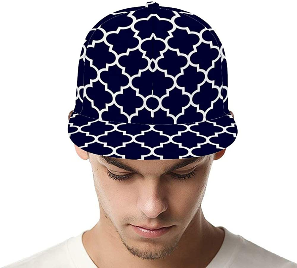 Dongi Navy Blue Quatrefoil Pattern Unisex Full-Print Flat Rubber Ball Cap can Adjust Hip-hop Style
