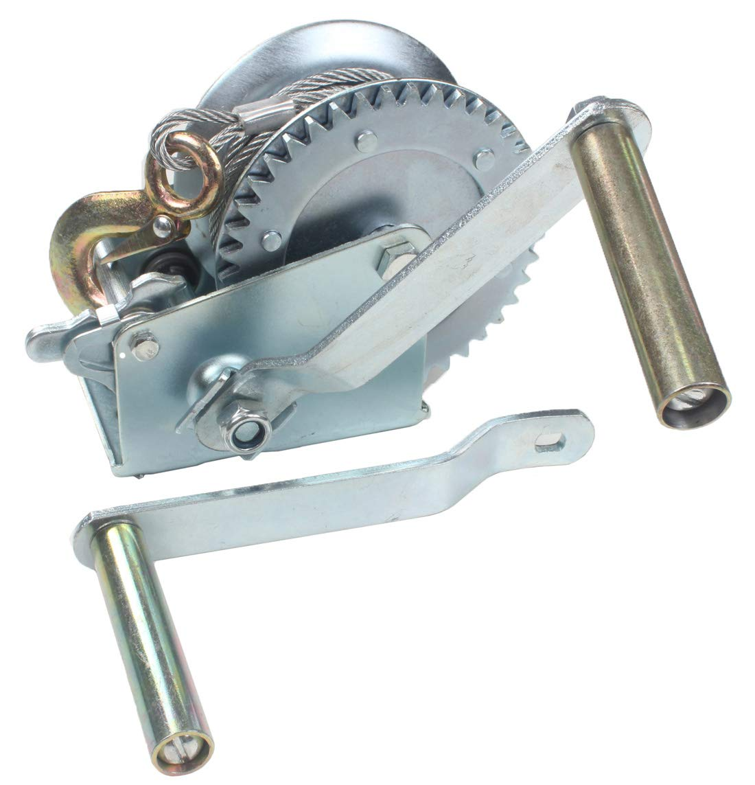 AC-DK 1600 lb - 3500 lb Hand Gear Winch Come with Two Crank Handles! - Manual Operating with Strap & Cable for Boats and Trailers(1600 lb with Strap).