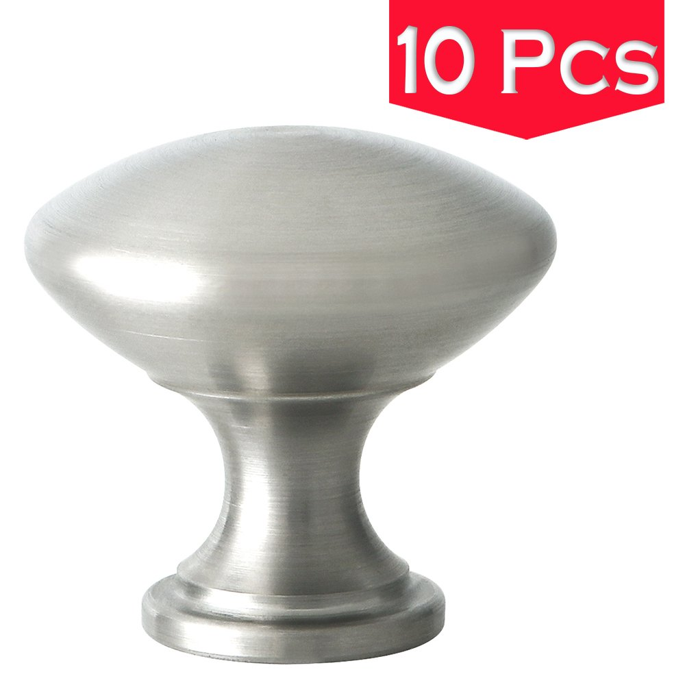 Alise Solid SUS 304 Stainless Steel Cabinet Drawer Round Knob 1-1/4 Diameter Furniture Hardware Handle Pull,Brushed Nickel 10 Pack