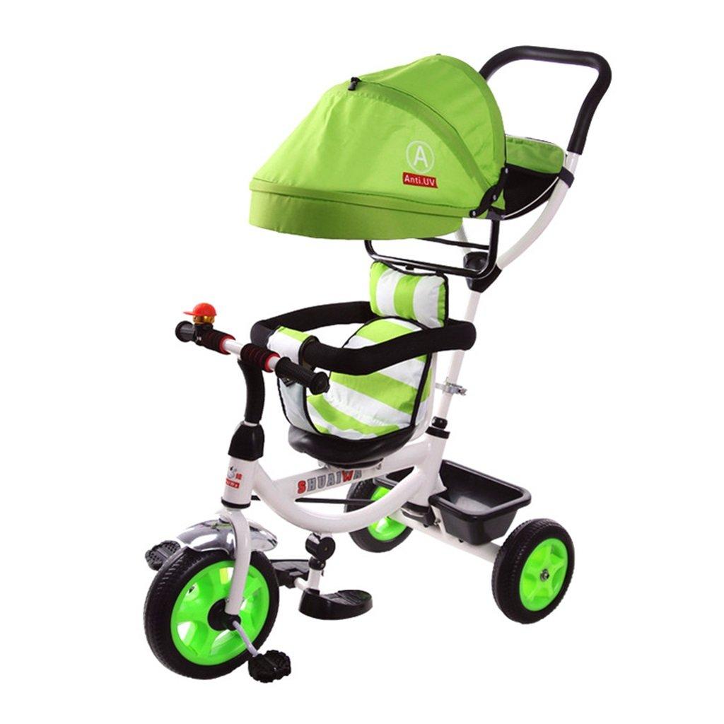 4-en-1 Edición deportiva Trike para niños, Triciclo infantil multifuncional Trolley para niños con toldo anti-UV y Manija principal / para niños de 1-3-6 años Niño y niña Bebé / Bicicleta verde